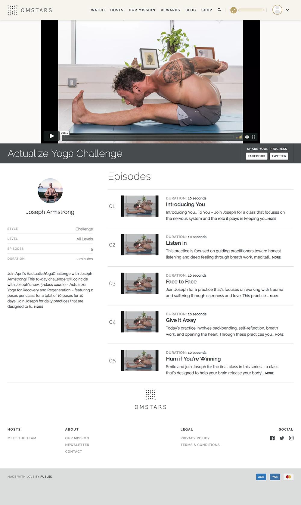 Screenshot of Actualize Yoga Challenge